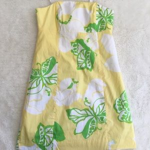Lilly Pulitzer Yellow Butterfly Strapless Dress 0
